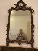 Antique 18th/19th Century Italian/venetian Carved Painted Wood Mirror. 46 X 29