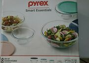 Pyrex Smart Essentials 8 Piece Mixing Bowl Set Glass Lid Is Bpa-free