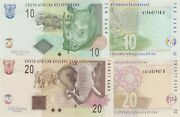 South Africa 2 Note Set 10 And 20 Rand Nd/2009 Sign Marcus - P128b And P129b Unc
