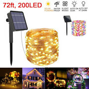 72ft 200led Solar Copper Wire Fairy String Lights Outdoor Waterproof Lamp Decor