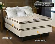 Dream Sleep Coil Comfort Pillow Top Twin Mattress And Box Spring Set 2-sided...