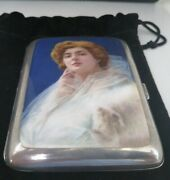 Very Rare 925 Sterling Silver Enamel Cigarette Case Outstanding Condition.