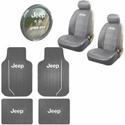 Jeep Gray Synthetic Leather Car Truck Seat Covers Steering Wheel Cover Floor Mat