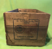 Vtg Wood Crate / Box Standard Oil Co. Neatsfoot Harness Oil 18 X 9 In.