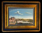 Early 18 Century Hand Colored Copper Plate Engraving Italy Framed Glass Cover