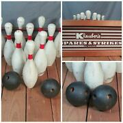 Vintage Antique Bowling Game Klaubers Spares And Strikes Wood Balls 10 Pins Rare