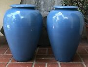 Vintage Set Of 2 Federal Blue Garden City Pottery Oil Jars Weighted W/ Concrete