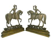 Rare Late 18th-early 19th C China Trade Pair Cast Bronze Soldiers On Horseback