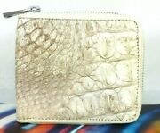 Genuine Leather Crocodile Mens Bifold Zip Around Wallet Cards Bags Coins Purse