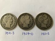 Barber Half Dollar Lot 3 18 Different Coins With Grades G-vf