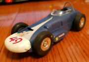 1960and039s Marx Friction Race Car Usa 49 Blue And White Missing Driver