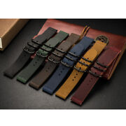20mm 22mm Universal Vintage Leather Watch Strap Band W/ Ring Clasp Quick Release
