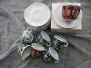 Illy Cups 1993 Rare Complete Set. Sandro Chia 6x Espresso + Viith Cup Pompeii.
