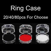 20/40/80pcs Plastic Clear Crystal Jewelry Ring Display Storage Boxes Accessories