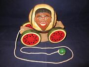 Briere Folk Art Pull Toy 1986 Man And Cart / Cradle 1061 Exc