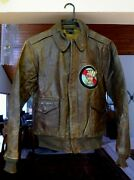 Wwii Original Us Army Air Corps Named A-2 Flight Leather Jacket Used