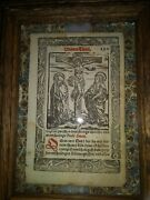 1521 Bible Leaf Germany. France. Poland. Christ On Crucifix Garden Of The Soul.