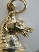 Fine 3d Vintage Solid 9ct Gold Horse Bloodstone Fob Chess Knight Pendant Charm