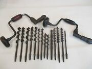 Vintage Hand Drills With Vintage Hand Drill Drill Bits.