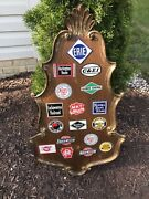 Vintage Railroad Metal Post Cereal Plaques Mounted On Wood Board -17 Signs-