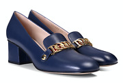Sylvie Blue Leather Gold Chain Web Block Mid Heel Mule Loafer Pump 39.5