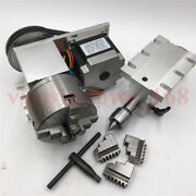 Tailstockandrotary Axis 3jaw 100mm Chuck Cnc Router 61 4th Rotational Axis Kit
