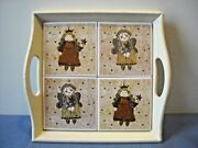 Whimsical Square Wood Tray 4 Ceramic Tiles Inset Girl Angels W Star Wands