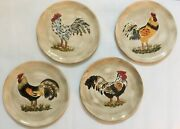 4 Calderone Tabletops Unlimited Hand Painted Roosters Approx. 11.25 Plates