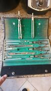Engineer's Protractor Set Vintage In The Case Made In Germany With Extras