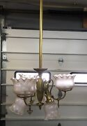 Victorian Brass 6 Light Gas And Electric Chandelier