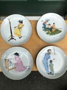 Set Of 4 Norman Rockwell Decorative Plates - Free Shipping