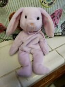 Vintage Beanie Baby 1996 Floppity Purple Bunny With Tag Errors
