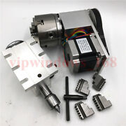 4jaw Rotary Axis Tailstock Hollow Shaft 100mm Rotational Axisandnema23 Stepper Cnc