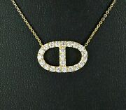 Christmas Andpound2595 Italy 18k Solid Yellow Gold Round Diamond Oval Pendant