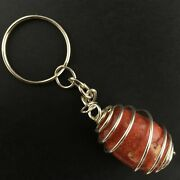 Red Madrepore Keychain Keyring - Taurus Libra Zodiac Silver Plated Spiral A+