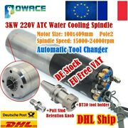3kw Automatic Tool Changer Atc Water Cooled Spindle Motor Bt30 220v Cnc Mill【fr】