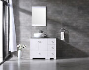 36 White Bathroom Vanity Cabinet Top Single Vessel Sink And Faucet Combo