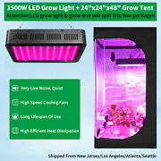 1500w Led Grow Light Full Spectrum +2and039 X 2and039 Hydroponic Indoor Grow Tent Grow Box