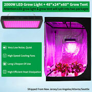 2000w Led Grow Light Full Spectrum + 4and039x2and039 Hydroponic Indoor Grow Tent Grow Box