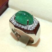 Mens 7.01tcw Natural Emerald Diamond 18k Solid White Gold Ring Cabochon Unisex
