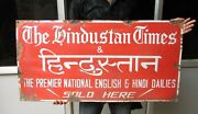 1940s Vintage The Hindustan Times Advertisement Enamel Sign Board , Collectible