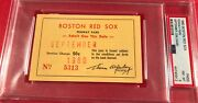 1960 Ticket Pass Psa Ted Williams Last Hr 521 Fenway Park Boston Red Sox Sept.mt