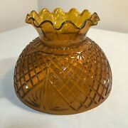 Vintage Replacement Amber Plastic Hurricane Lamp Shade / Pineapple Pattern