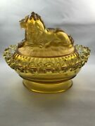 1889 Imperial Glass Satin Frosted Amber Atterbury Lion Candy Dish Lattice Edge