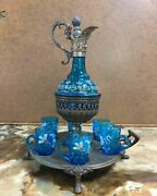 Antique 19th Century French Blue Glass Liquor Set With Tray