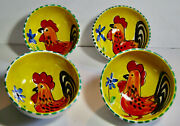4 Pottery Bowls Roosters Handpainted Made In Italy For The Cellar