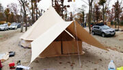 Canvas Bell Tent W/ Front Awning Outdoor Camping 6m Sporting Leisure Premium