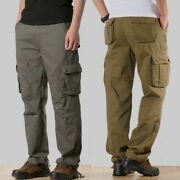 Menand039s Cargo Overalls Pants Straight Leg Pocket Trousers Loose Fit Fall Casual Sz