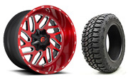 20x10 Fuel Triton 33 Mt Red Wheel And Tire Package 5x5 Jeep Wrangler Jk Jl Jt