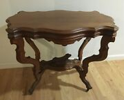 American Walnut Victorian Parlor Table Carved Dog H N Wenning Furniture Co Ohio